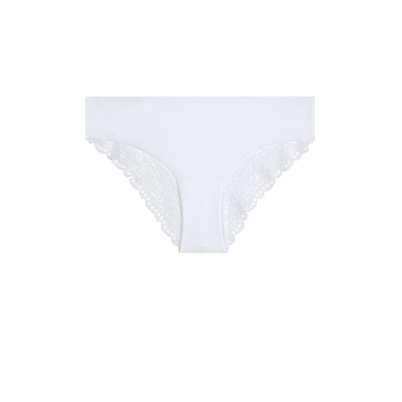 culotte en micro et dentelle - blanc;