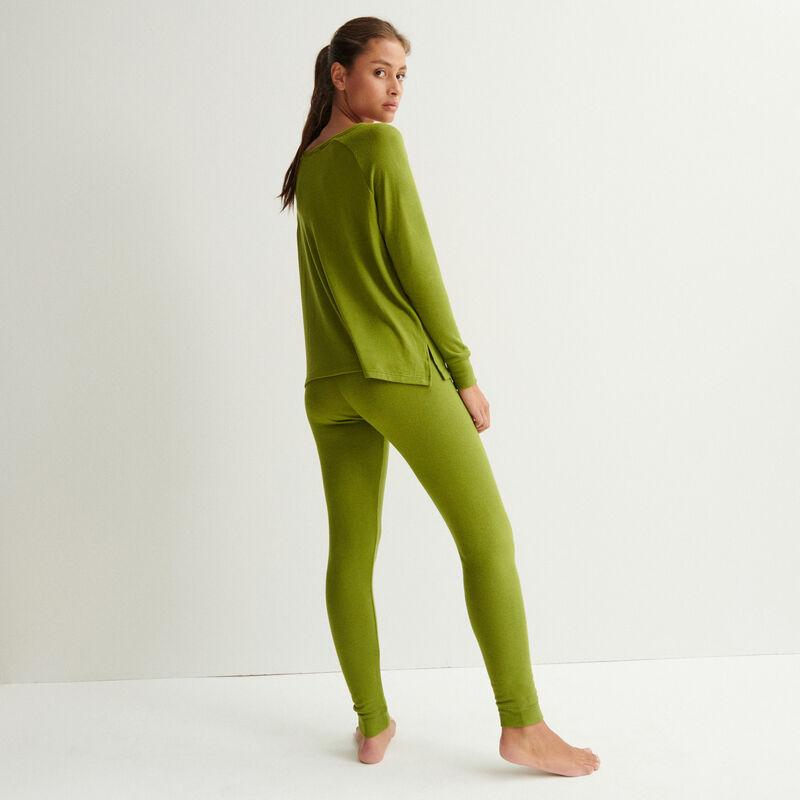 pantalon en maille - kaki;