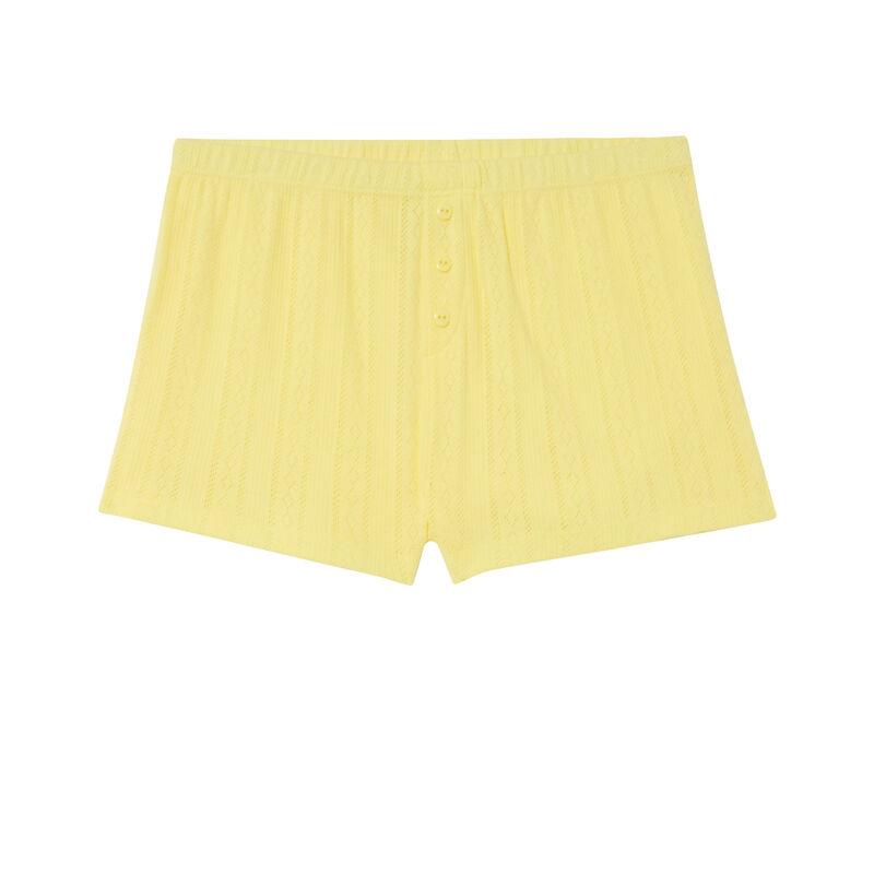 short uni maille pointelle- jaune;