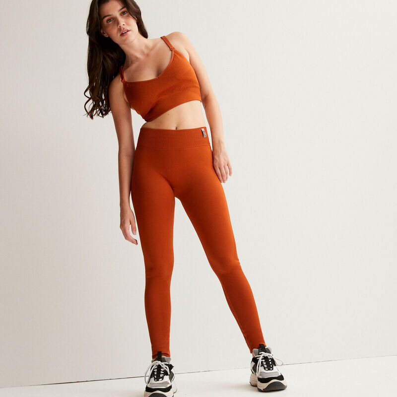 legging effet twist - marron;