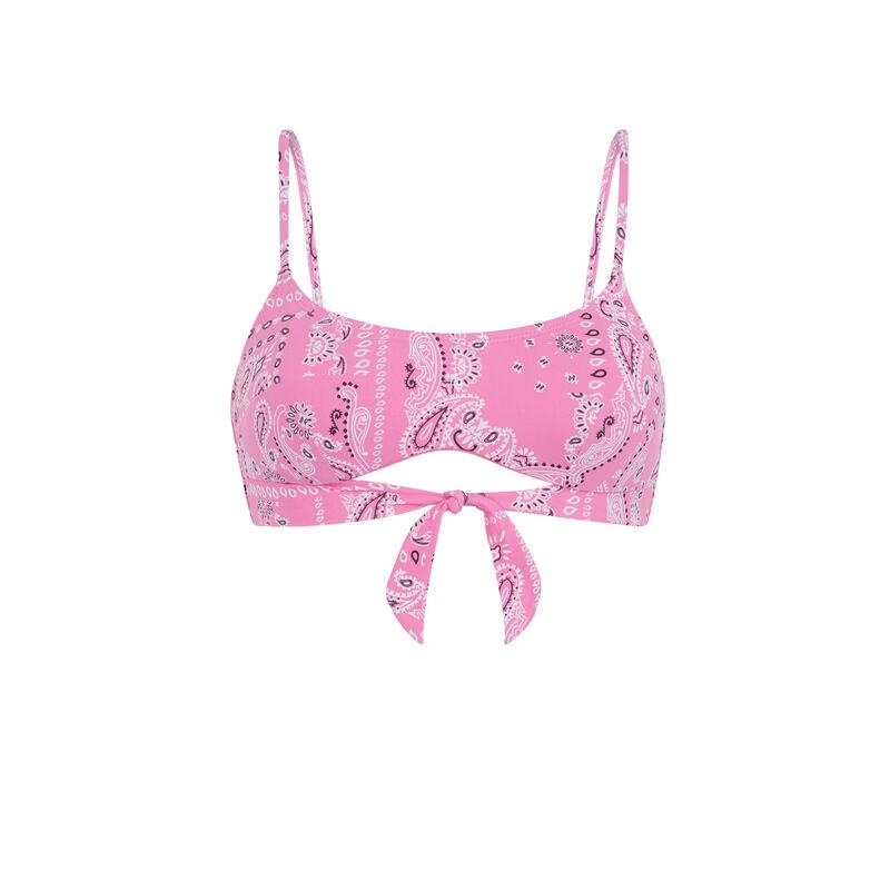 Haut de maillot de bain bralette imprimé bandana - rose;