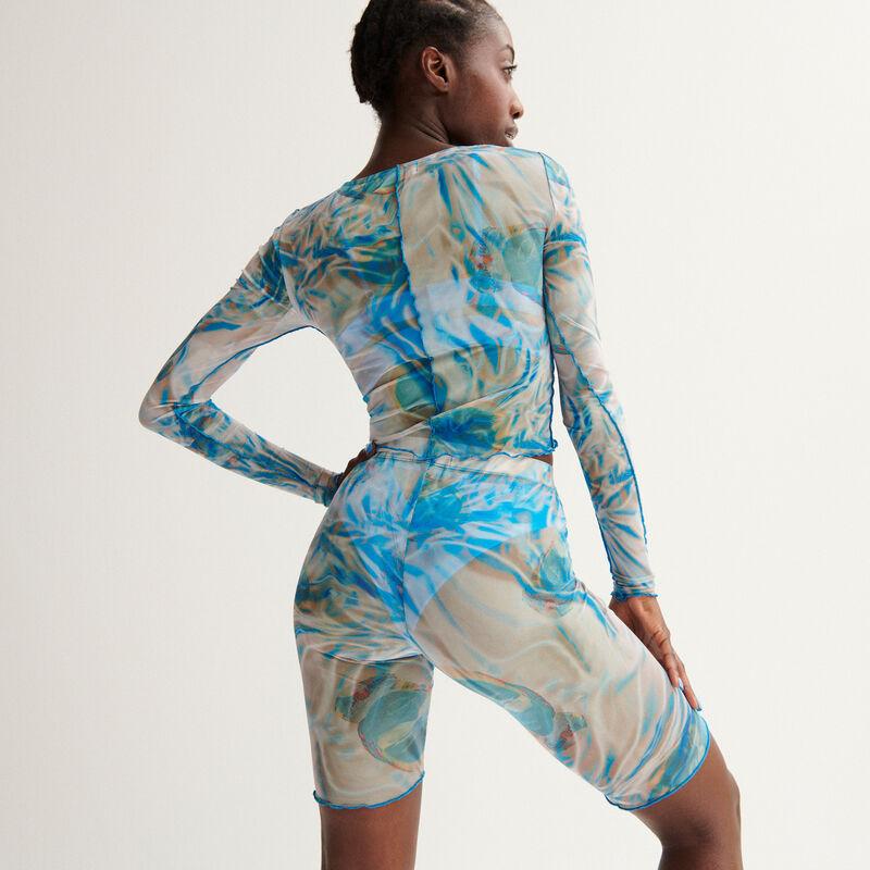 cycliste résille Aya x undiz imprimé smoke - bleu;