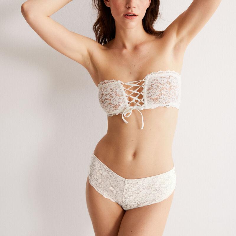 soutien-gorge bandeau sans armatures effet corset - écru;