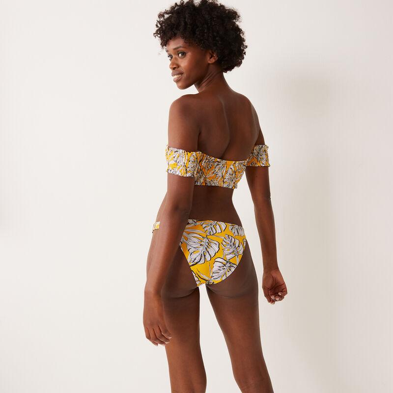 bas de maillot à détail fronces et motifs palmier - jaune;