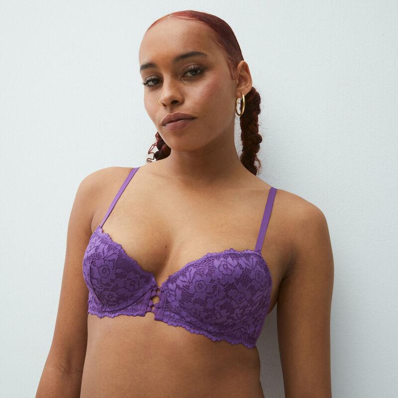 soutien-gorge push-up en dentelle fleurie - bleu;