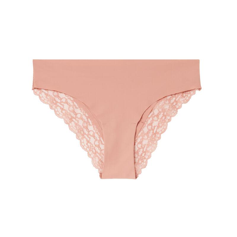 culotte en micro et dentelle - rose nude;