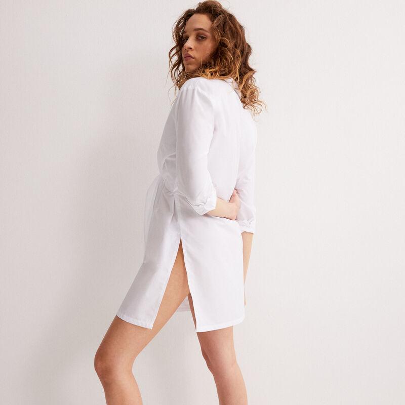 robe chemise effet noué - blanc;