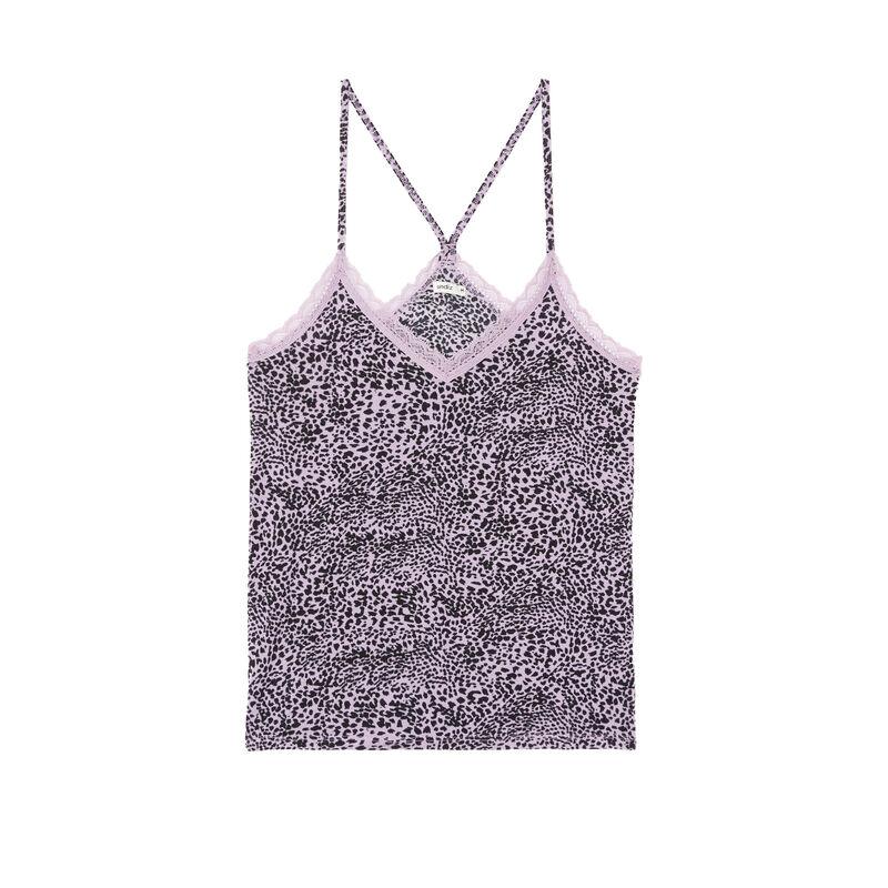 top en jersey à fines bretelles imprimé léopard - lilas;