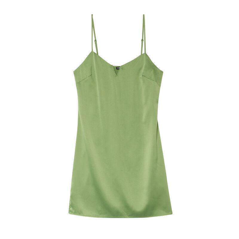 robe satinée à décolleté armaturé - vert;
