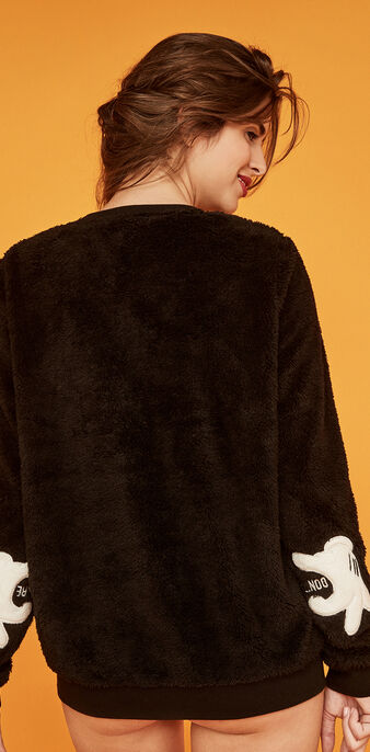 Sweat peluche noir mitiziz black.