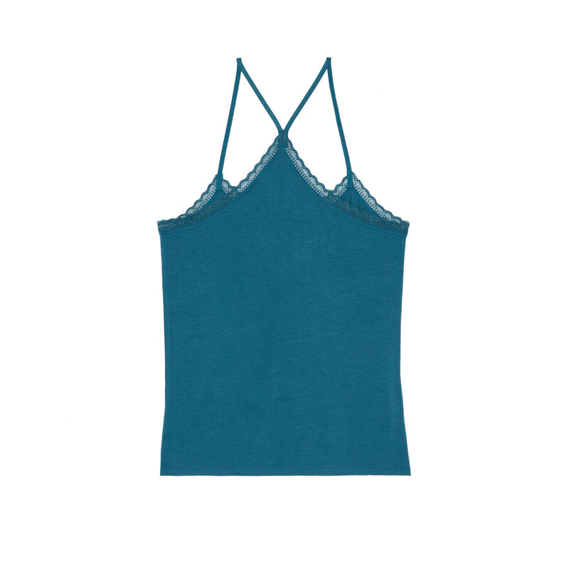 top en jersey à fines bretelles - bleu ;