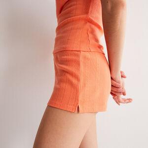 short uni maille pointelle - orange