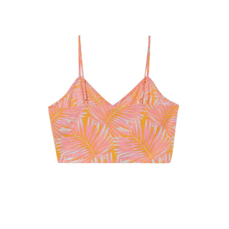 crop top noué motifs palmier - orange;