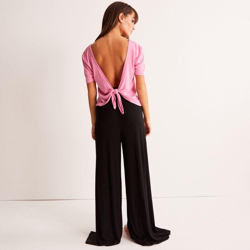 Pantalon large fendu - noir;