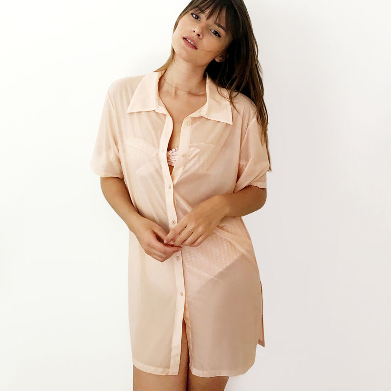 Robe chemise fluide irisée - rose;