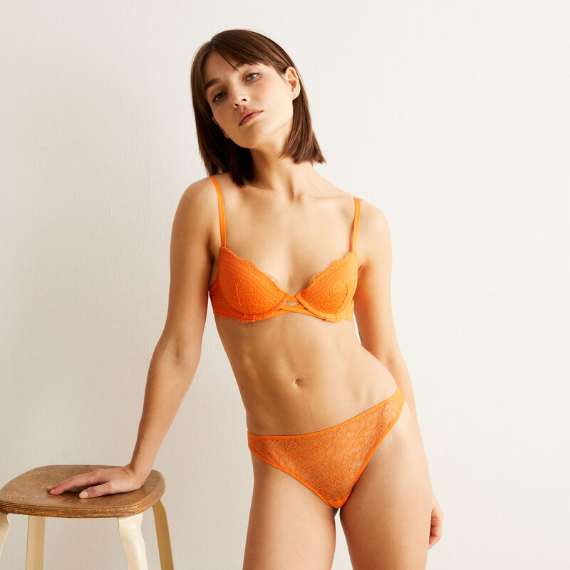 Tanga en dentelle - orange;