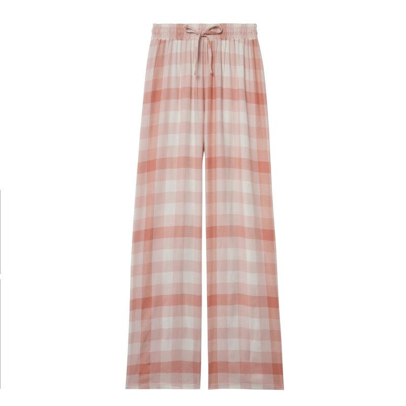 pantalon à carreaux large taille froncée et nouée - rose;