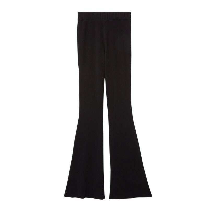 pantalon flare en maille - noir;