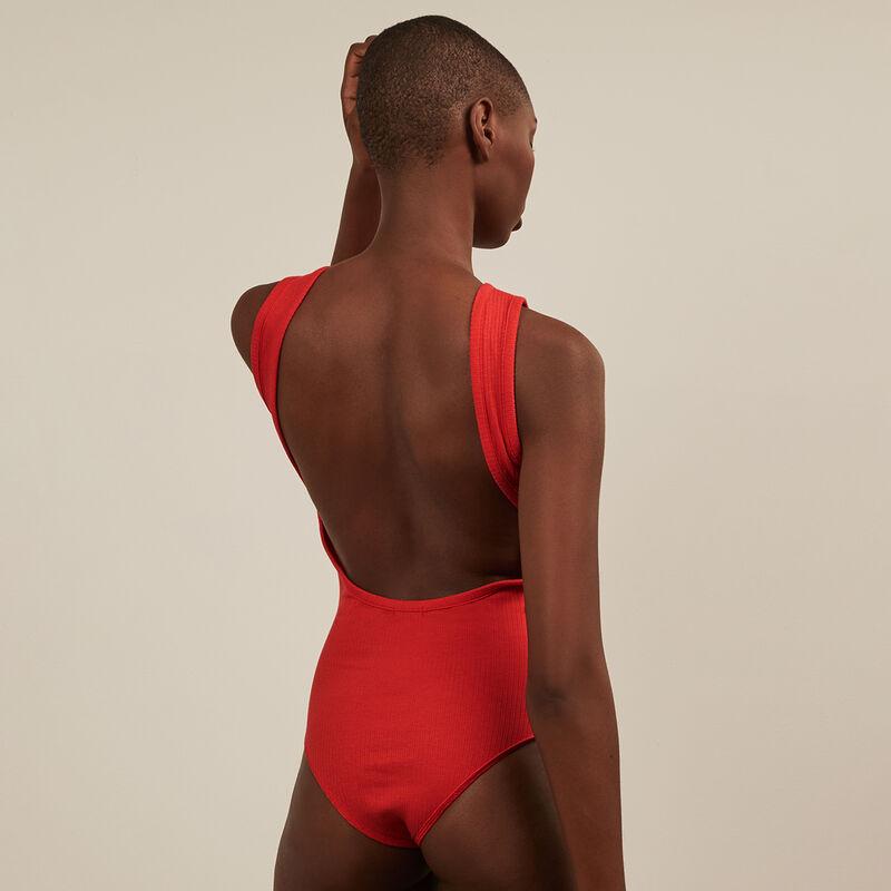 Body sans manche dos nu - rouge;