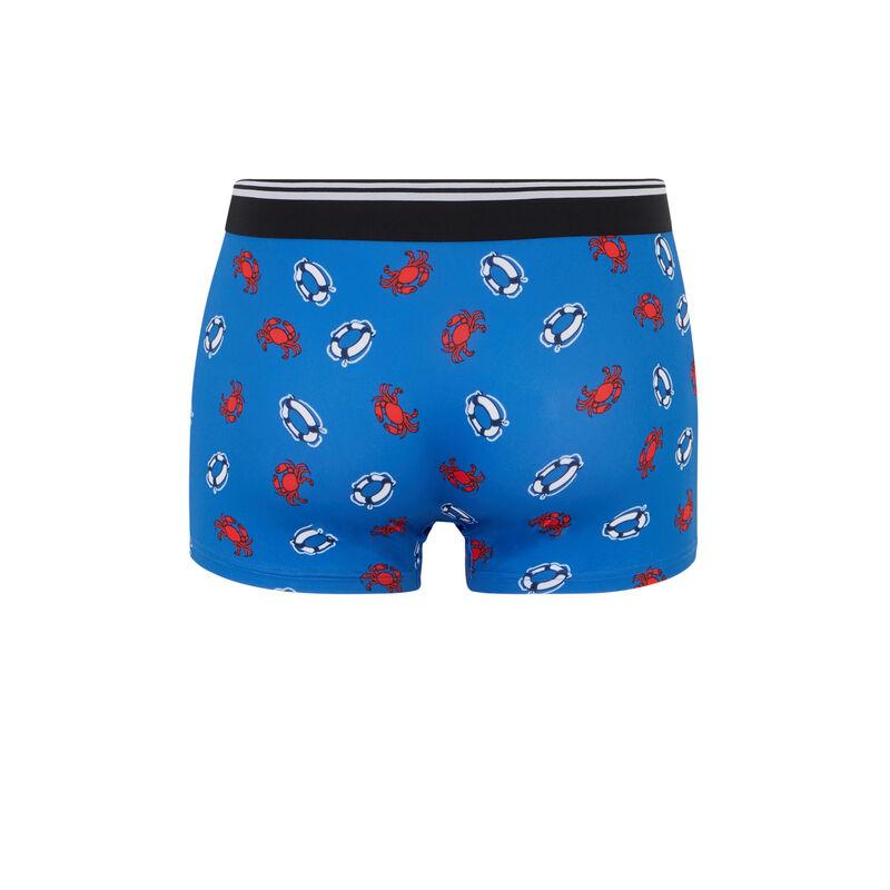 boxer en coton imprimé crabes - bleu ;