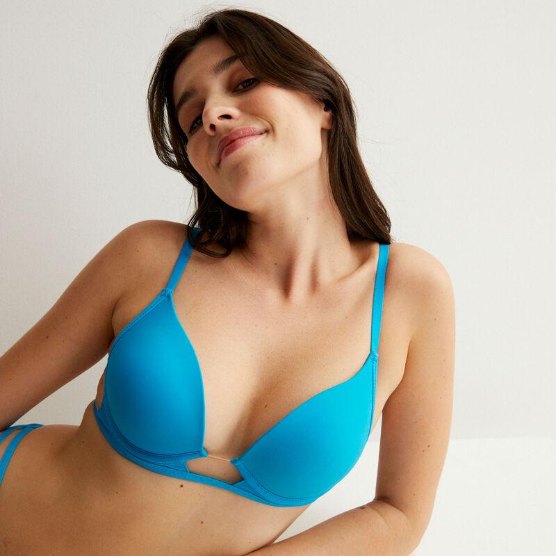 soutien-gorge push-up empiècements tulle et micro - bleu;