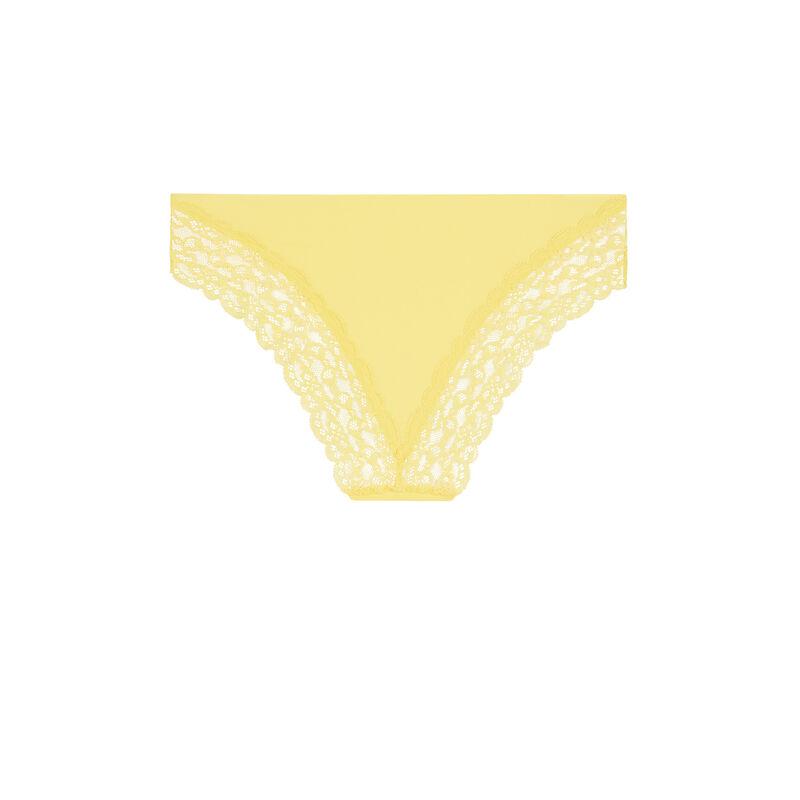 Shorty uni en micro - jaune pastel;