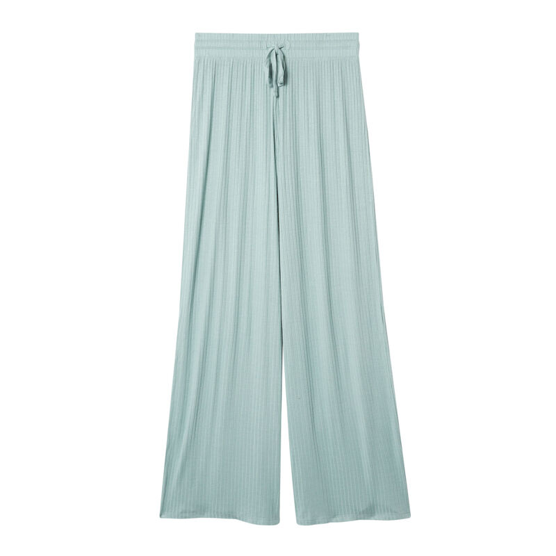 pantalon évasé en maille - vert d'eau;
