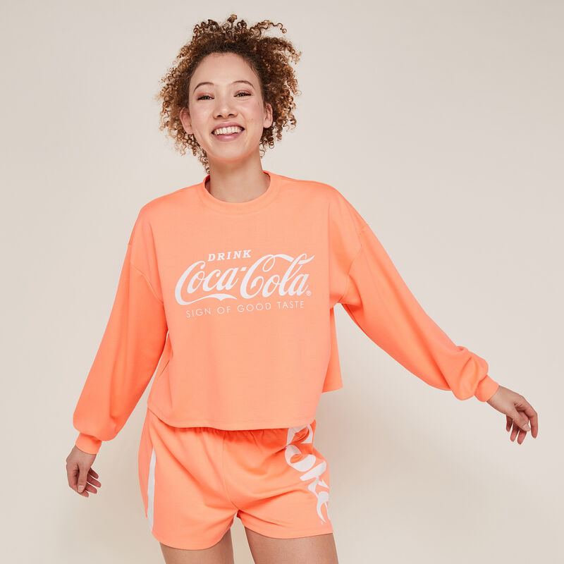 Short en molleton coca-cola - corail fluo;