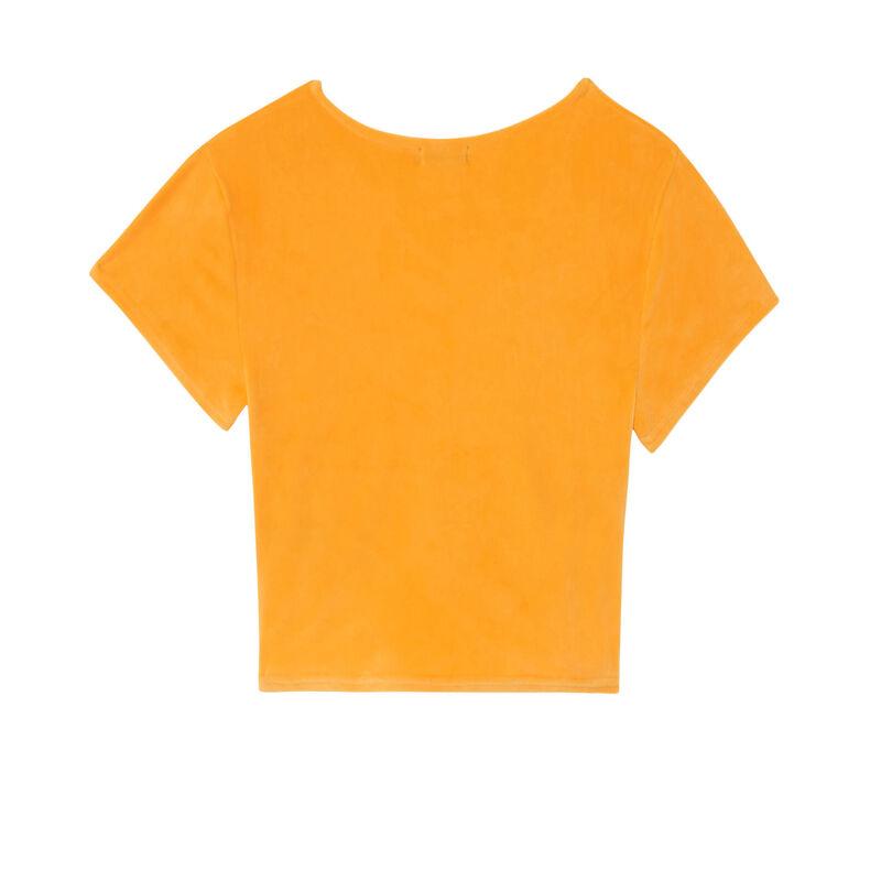 top manches courtes en velours effet noué - orange;