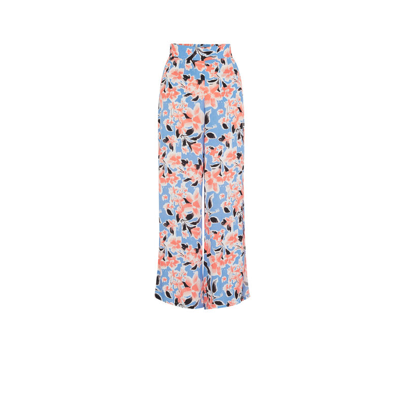 Pantalon large imprimé fleuri - bleu;