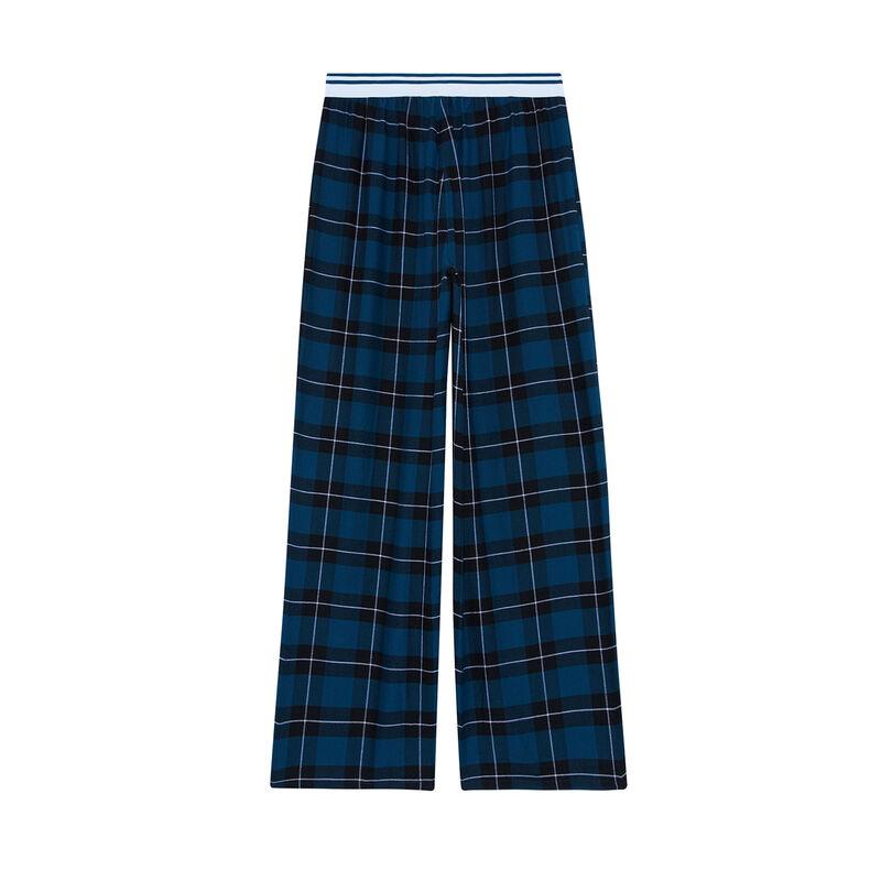 pantalon à carreau - bleu;