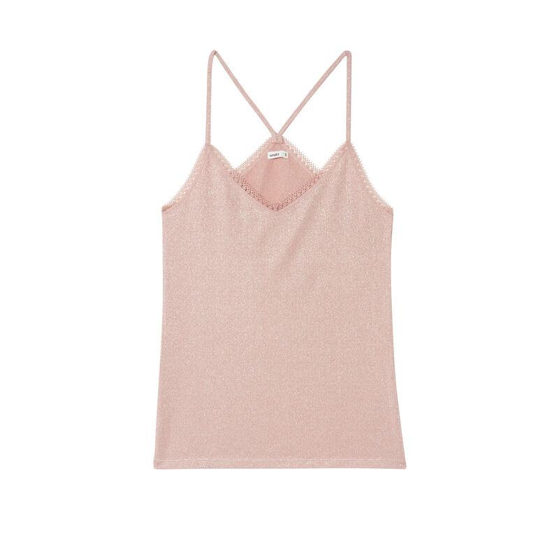 top à paillettes bords en dentelle - rose nude;