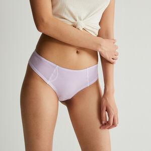 shorty coton coutures blanches apparentes - lilas