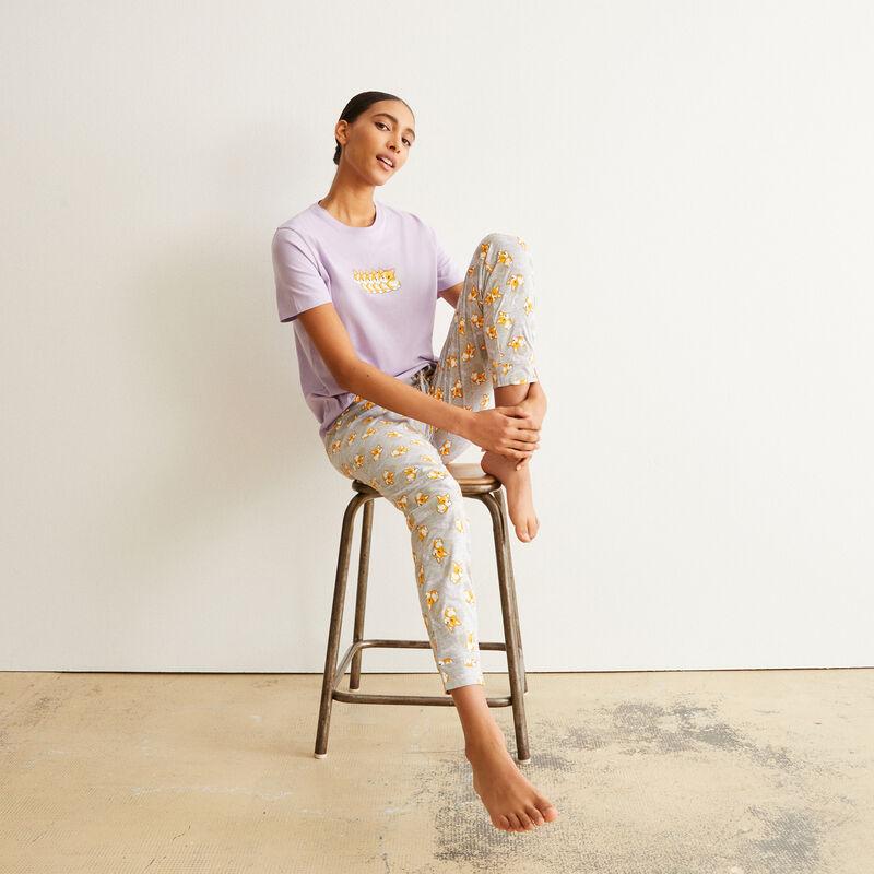 set de pyjama à manches courtes motifs corgi - violet;