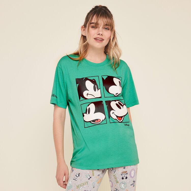 Top à manches courtes print mickey grumpymickiz vert émeraude.