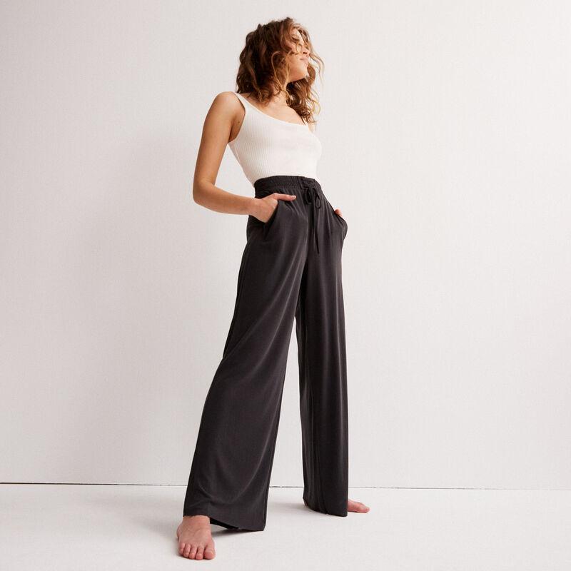 pantalon large effet peau de pêche - noir;