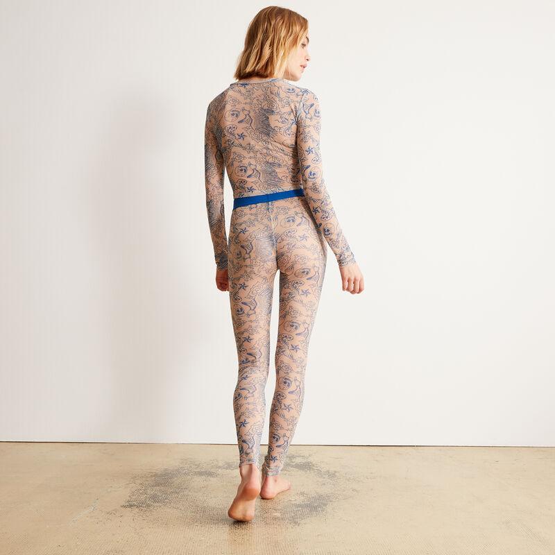 legging résille effet tatoo - nude;