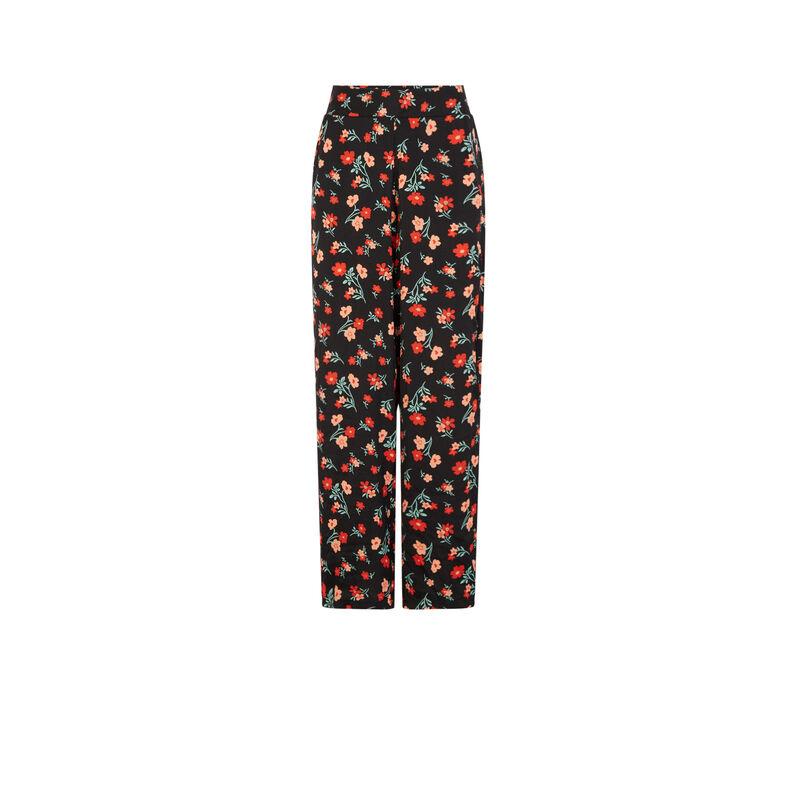 Pantalon satiné imprimé fleuri - noir;