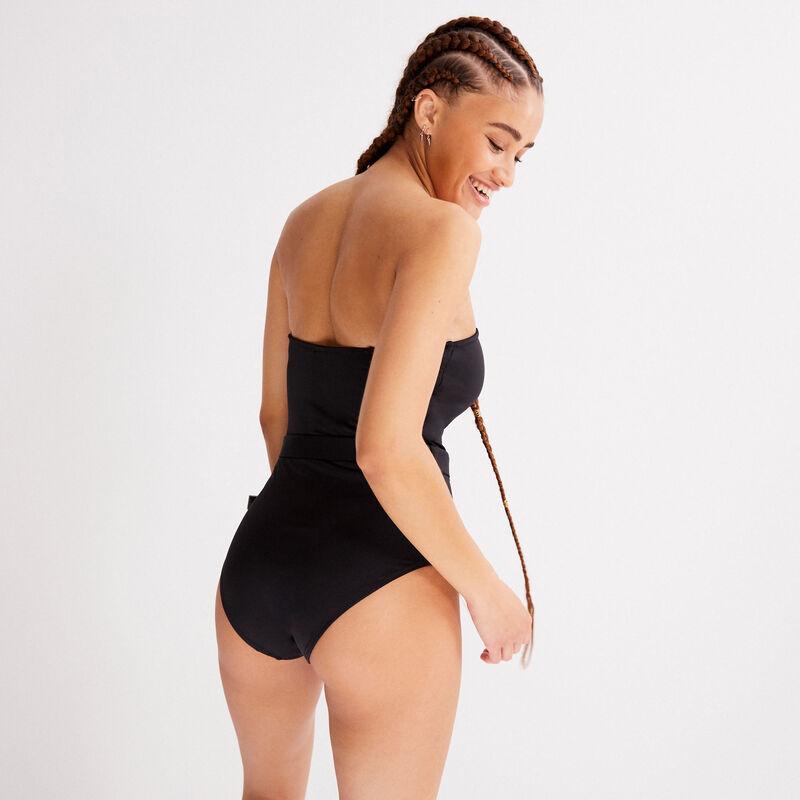 maillot de bain une pièce à détail ceinture - noir;