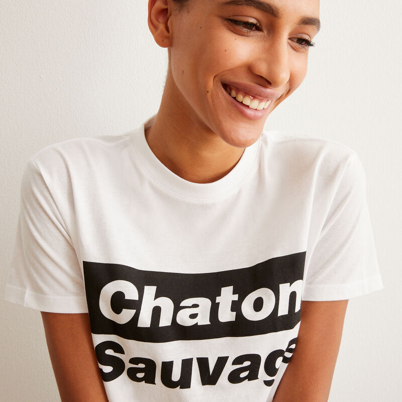 set de pyjama short chaton sauvage - blanc;