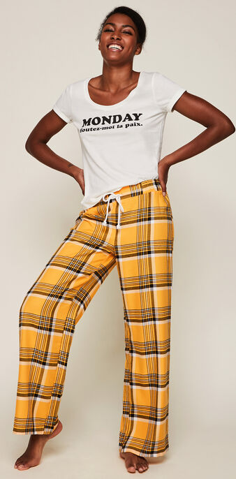 Pantalon à carreaux yelitartiz safran.