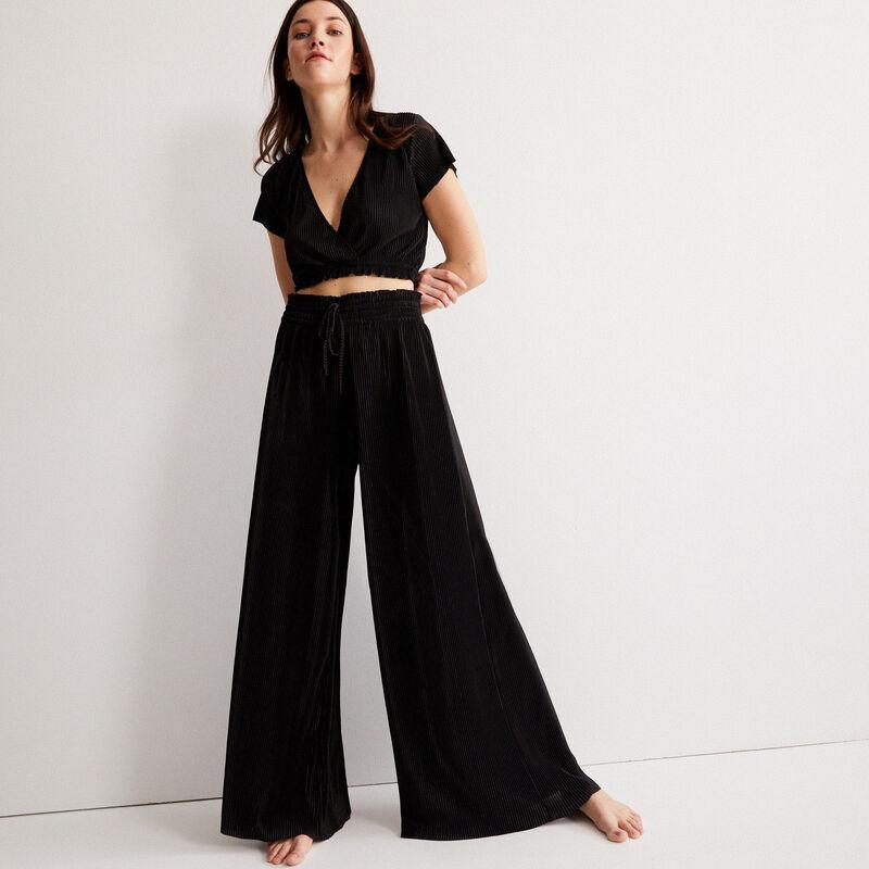 pantalon plissé à élastique froncé - noir;
