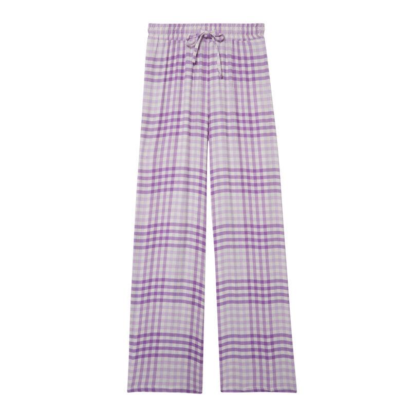 pantalon à carreaux large taille froncée et nouée - violet;