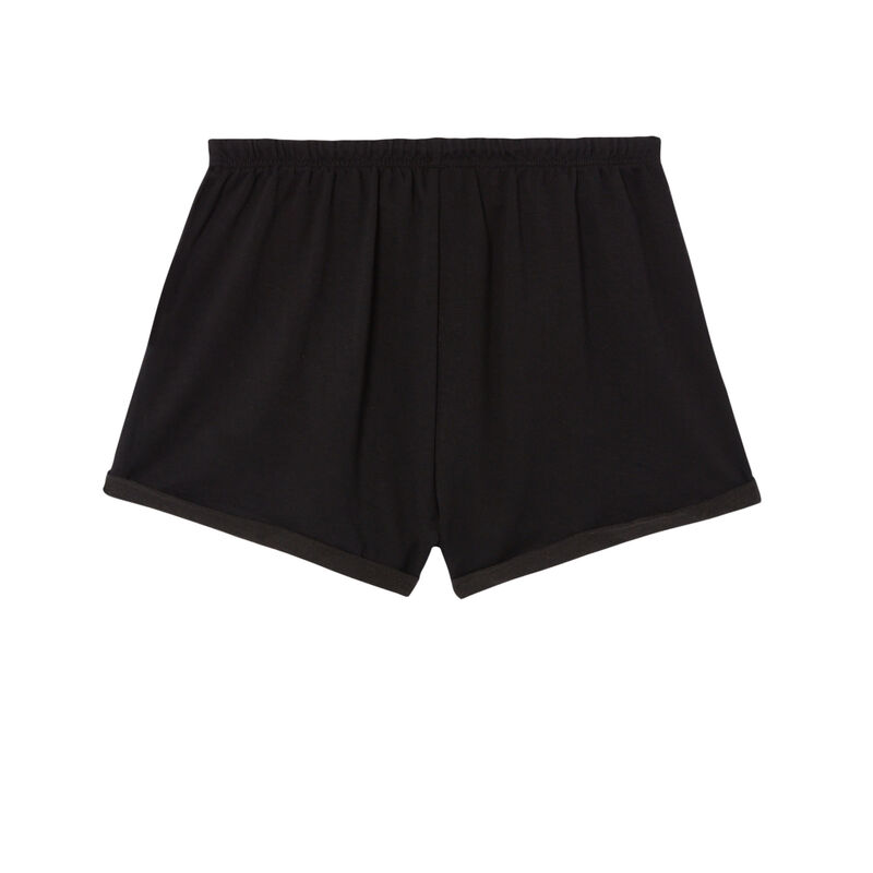 short uni à détail cordon - noir;