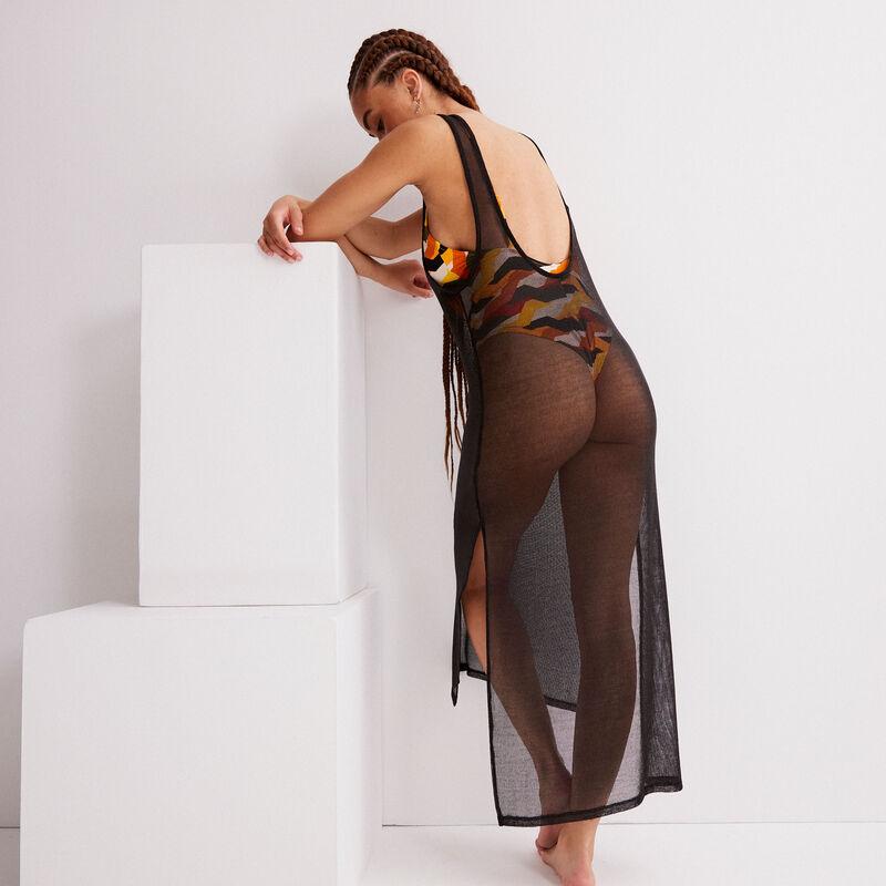 robe mi-longue métallisée transparente - noir;