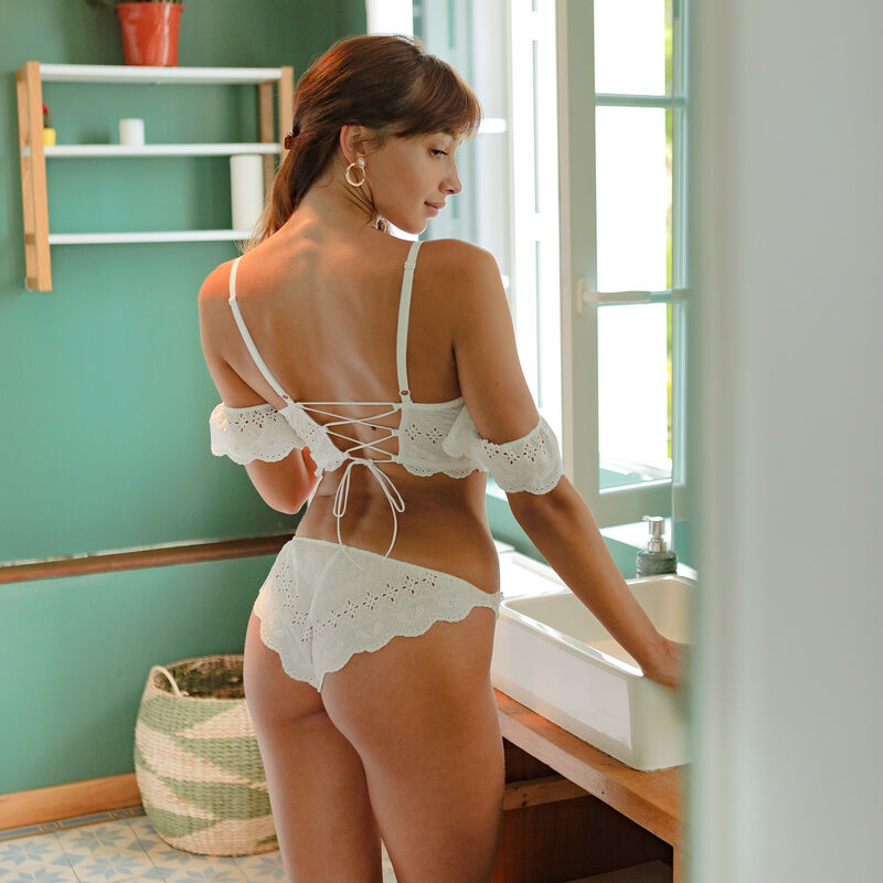 brassière en broderie anglaise - blanc;