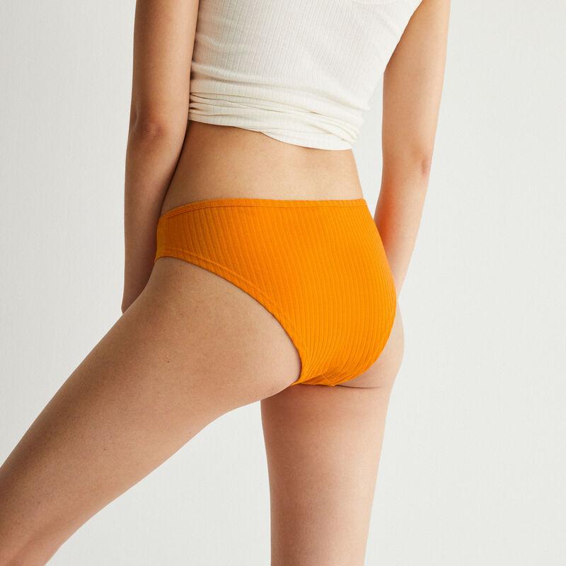 tanga en coton uni - orange;