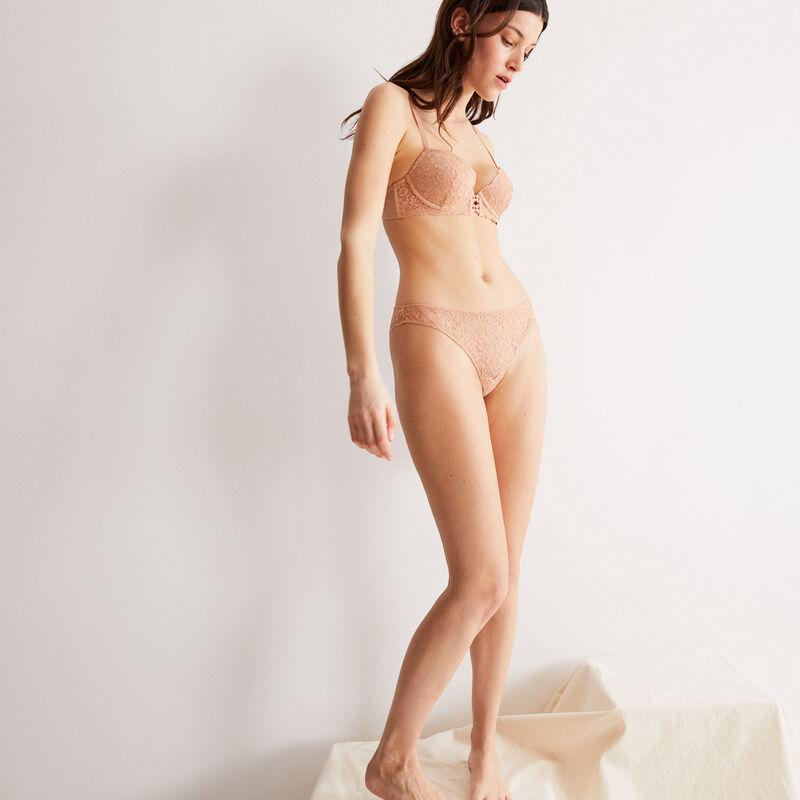 soutien-gorge push-up en dentelle fleurie - beige nude;