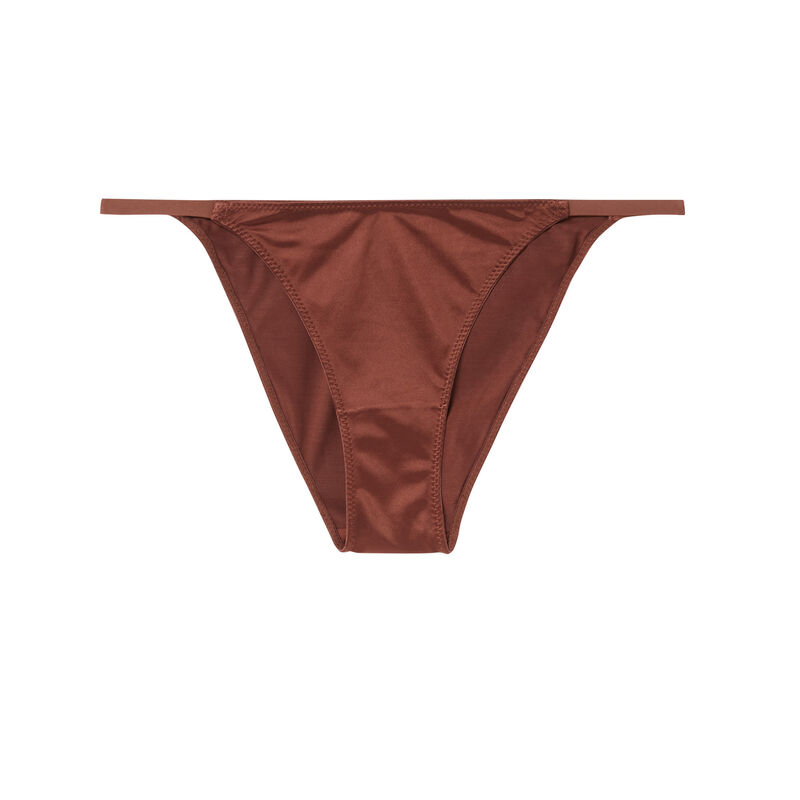 culotte uni en micro - marron;