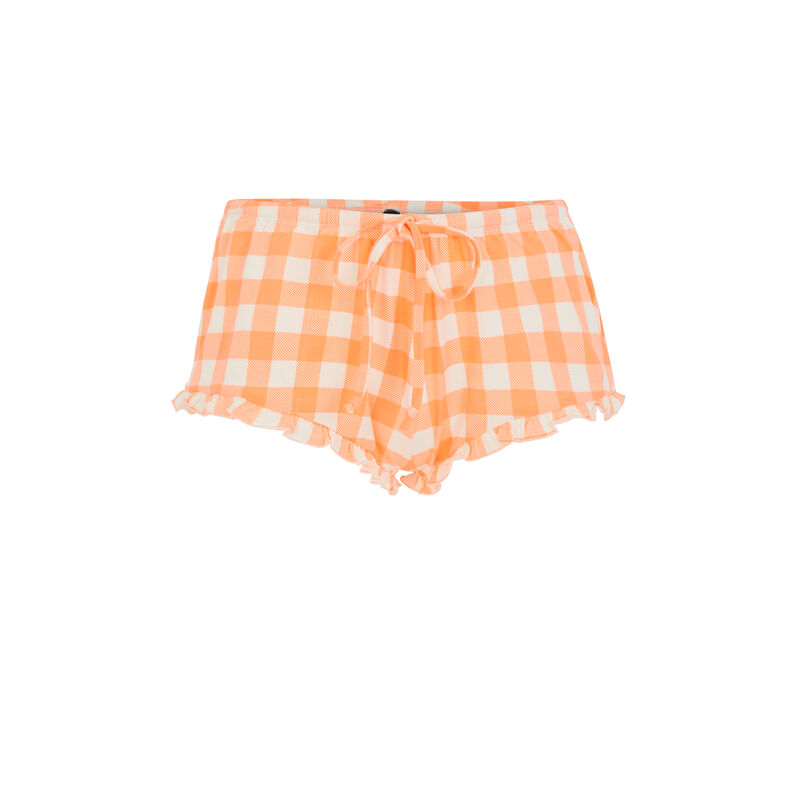 Short imprimé vichy - orange;